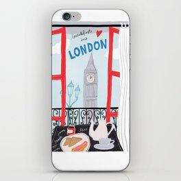 Breakfast in London // travel poster illustration iPhone Skin