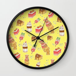 Street Treats on Yellow: Kawaii Food Wall Clock