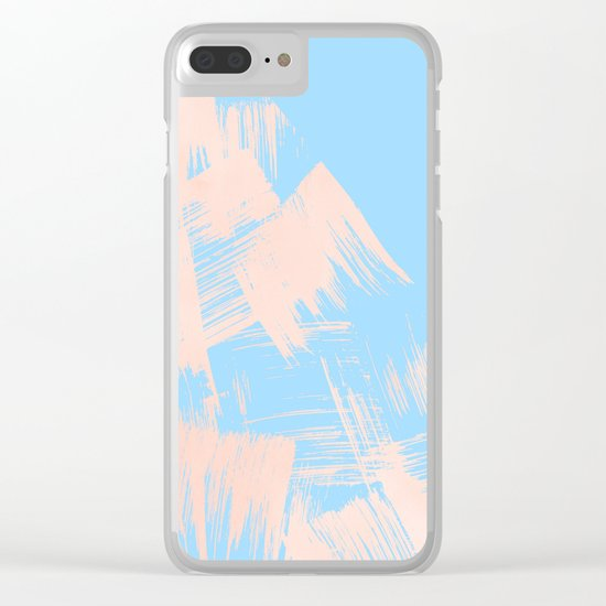 Paint Swipes Blue Raspberry and Sweet Peach Pink Clear iPhone Case