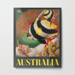 Australia, Great Barrier Reef, Vintage Travel Poster Metal Print