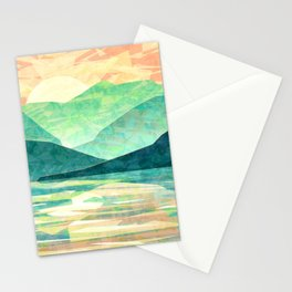 Spring Sunset over Emerald Mountain Landscape Painting Stationery Cards