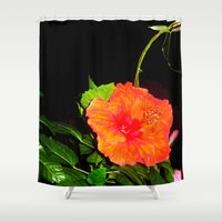 hibiscus Shower Curtains featuring Hibiscus by Iris V.