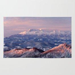 Beautiful sunrise in the Tatra mountains Rug
