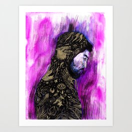 Gold Thoughts - Bearded Man with Hoodie Art Print