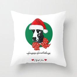 Happy Howlidays-I Wuf You Great Dane Throw Pillow