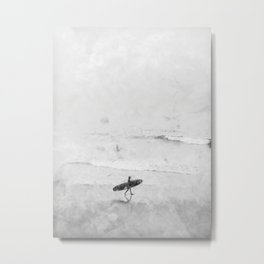 Surfer at the Beach, Digital Painting, 2020.  Metal Print
