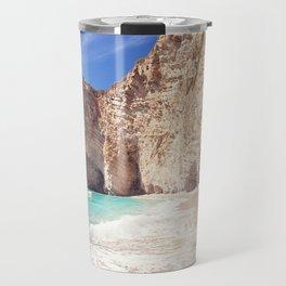 Corfu. Greece. Wild beach among the rocks. Travel Mug