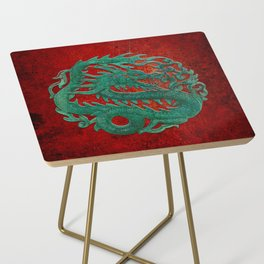 Wooden Jade Dragon Carving on Red Background Side Table