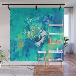 Teal yellow hand painted watercolor wolf Wall Mural