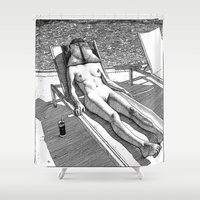 apollonia Shower Curtains featuring asc 614 - Le blues de janvier (HIM)  Second version by From Apollonia with Love