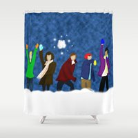 1d Shower Curtains featuring 1D Snow Fight by Nova Jarvis