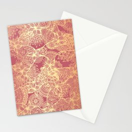 Pink and Gold Mandala Doodle Patterns Stationery Cards