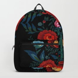 Flowers in Red and Blue Backpack