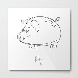 Nursery Pig Line Art Black and White Metal Print