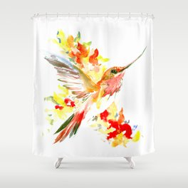 Hummingbird and Flame Colored Flowers, yellow red floral art design Shower Curtain
