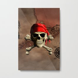 The Jolly Roger Pirate Map Metal Print