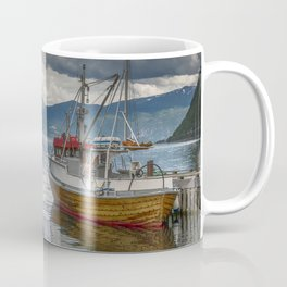 fishing boat in the harbor of Vik at the sognefjord in Norway Coffee Mug