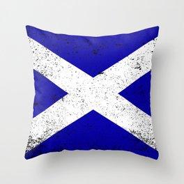 Scotish Flag Grunge Throw Pillow