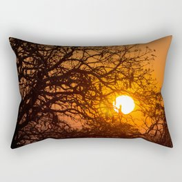 Sultry sun setting behind the sausage tree Rectangular Pillow