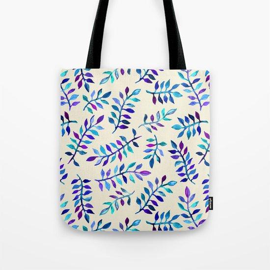 Hand Painted Purple & Aqua Leaf Pattern on Cream Tote Bag