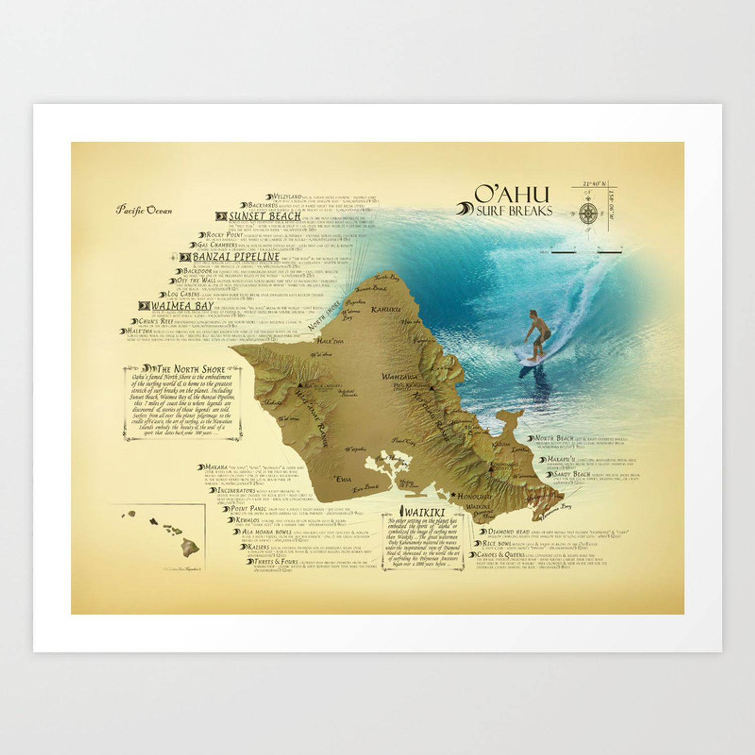 photograph relating to Printable Map of Oahu known as Oahu [common impressed] Surf Crack Map Artwork Print