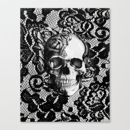 Rose skull on black lace base. Canvas Print