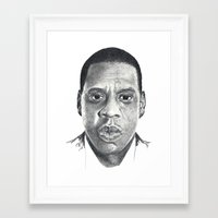 jay z Framed Art Prints featuring Jay-Z by Stephanie Morris Illustration