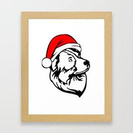 Australian Shepherd Dog with Christmas Santa Hat Framed Art Print