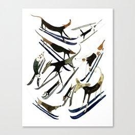 Beatnik Dogs Skiing Canvas Print