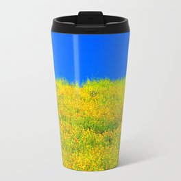 yellow poppy flower field with green leaf and clear blue sky Travel Mug