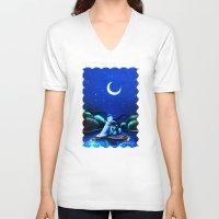 aladdin V-neck T-shirts featuring Starry Night Aladdin by ThreeBoys