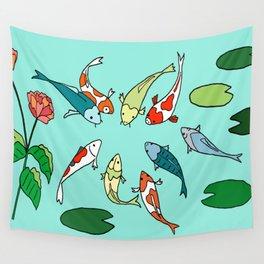Koi Fish Meeting Wall Tapestry