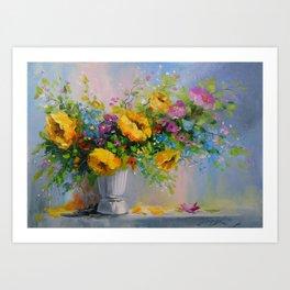 Bouquet de fleurs jaunes Art Print