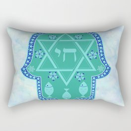 Hamsa for blessings, protection and strength - watercolor turquoise Rectangular Pillow