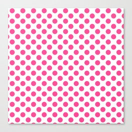 Pink polkadots dots circles on white background Canvas Print