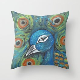 Peacock Head Throw Pillow