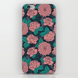 Floral Pattern in Pink and Teal iPhone Skin