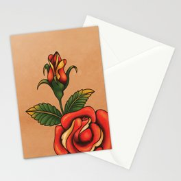 old school tattoo rose Stationery Cards