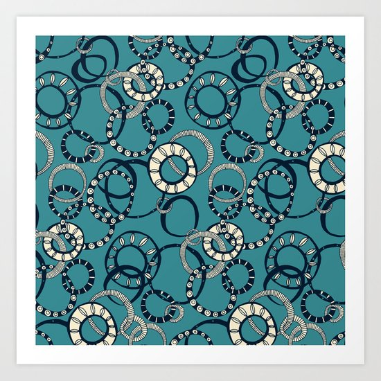 Honolulu hoopla blue Art Print