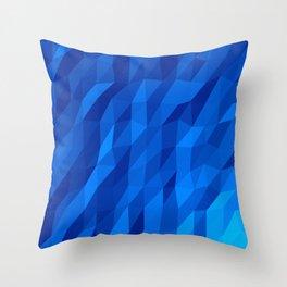 Blue Polygon v1 Throw Pillow