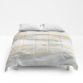 White Gold Marble Texture Comforters