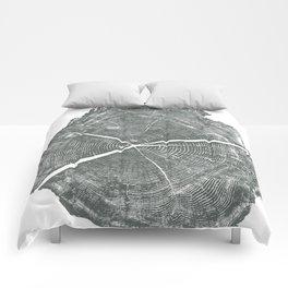 Locust Tree ring image, woodcut print Comforters
