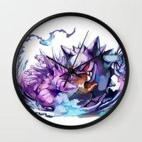 gengar Wall Clocks featuring Nidorino vs Gengar by Sa-Dui