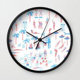 beach club pattern Wall Clock