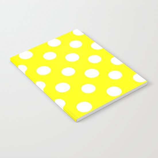 Polka Dots (White/Yellow) Notebook