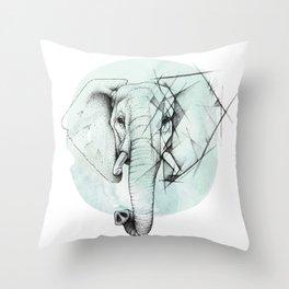 Elephant sketch // Aqua Blue Throw Pillow