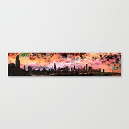 The Chicago Skyline Rendered in a Watercolor Abstract in Sunset Colors Canvas Print