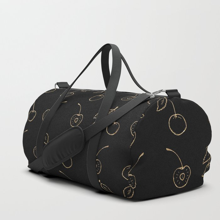 Elegant Chic Black Faux Gold Glitter Cherries Fruit Pattern Duffle Bag