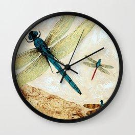 Zen Flight - Dragonfly Art By Sharon Cummings Wall Clock