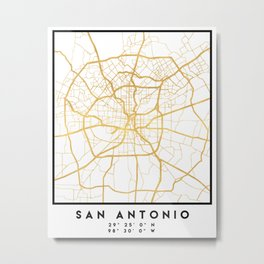 SAN ANTONIO TEXAS CITY STREET MAP ART Metal Print